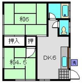 細野ハイツ2階Fの間取り画像