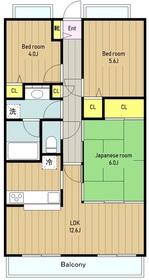 ファミール相武台グランデージ6階Fの間取り画像