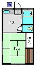 富士見荘1階Fの間取り画像