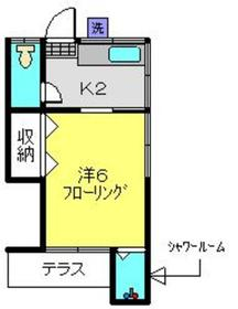 浅川荘1階Fの間取り画像