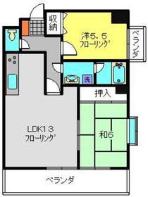 武蔵中原駅 徒歩6分4階Fの間取り画像