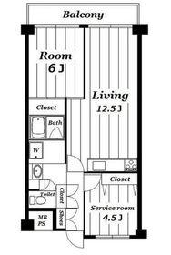 ライオンズマンション吉野町第65階Fの間取り画像