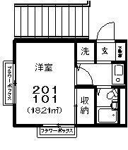 渋谷駅 バス41分「八雲3丁目」徒歩2分2階Fの間取り画像