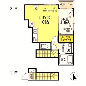 布田駅 徒歩9分2階Fの間取り画像
