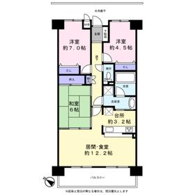 ステイツ千里山田 605号室6階Fの間取り画像