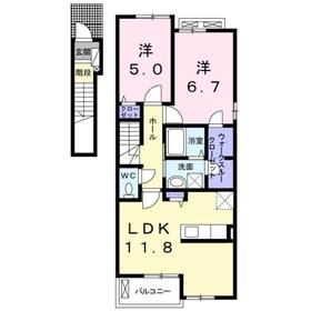 ラミーナⅠ2階Fの間取り画像