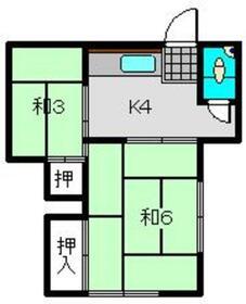若葉荘1階Fの間取り画像
