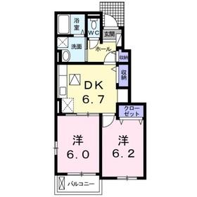 サニー・一里松1階Fの間取り画像