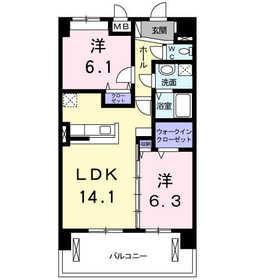 グランツフィオーレ4階Fの間取り画像