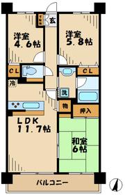 ドラゴンマンション多摩弐番館3階Fの間取り画像