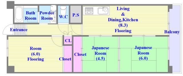 フローラ長田 広いリビングで和室と洋室の両方ある間取りです。
