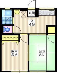 シティハイム イワセ1階Fの間取り画像