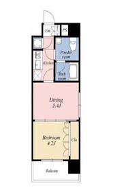 ラグジュアリーアパートメント横浜黄金町7階Fの間取り画像