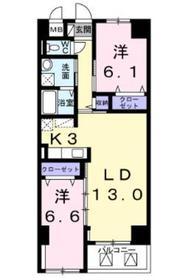グランドリーフ2階Fの間取り画像