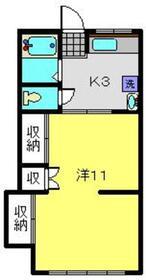 楠荘B棟1階Fの間取り画像