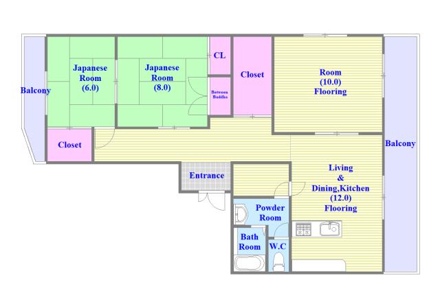 第2シャトー新町 各部屋が余裕のある広さで、とてもゆったりとした間取りです。