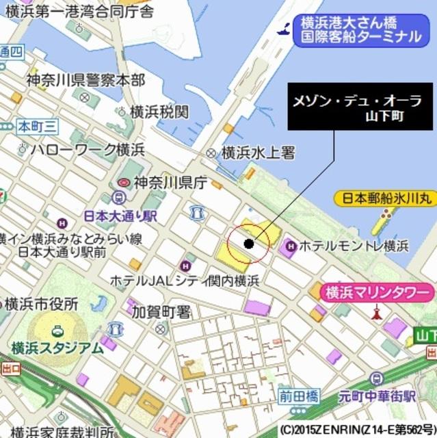 日本大通り駅 徒歩3分案内図