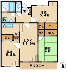 ラフィネ栗平1階Fの間取り画像