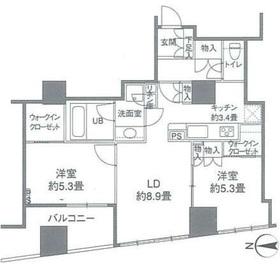 カスタリアタワー品川シーサイド22階Fの間取り画像