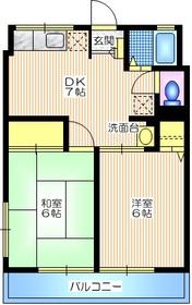 シティハイム 三立ハイツB2階Fの間取り画像