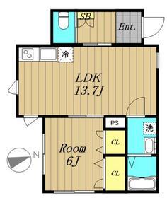 リナリア白金台1階Fの間取り画像