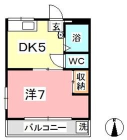 ロイヤル黒崎 NO.22階Fの間取り画像