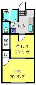 マサミハイツA棟1階Fの間取り画像