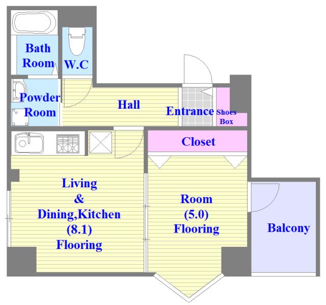 アミティタワー 広いリビング、独立キッチンなど、使い勝手の良い間取りです。