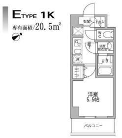 パークフラッツ横濱平沼橋6階Fの間取り画像