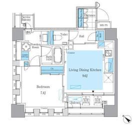 パークアクシス月島マチュアスタイル7階Fの間取り画像