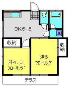 常盤台ハイツ2階Fの間取り画像