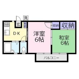 カスヤハイツ1階Fの間取り画像