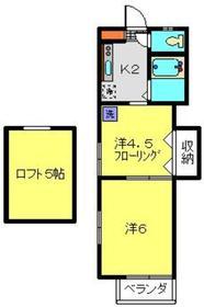 大浜ハイツ2号荘2階Fの間取り画像