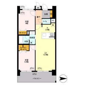 ロイヤルパークスリバーサイド5階Fの間取り画像