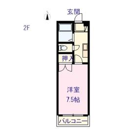 セシルハイツ2階Fの間取り画像