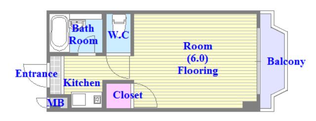 スペラーレ今里 うれしいバス・トイレがセパレートの単身さん向けの間取りです。
