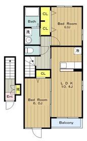 カーサドマーニⅡ2階Fの間取り画像