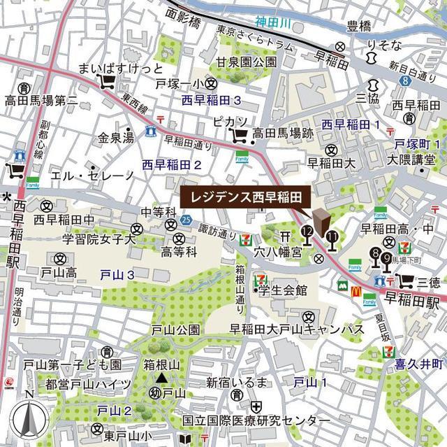 早稲田駅 徒歩2分案内図