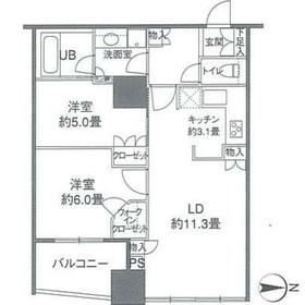 カスタリアタワー品川シーサイド15階Fの間取り画像
