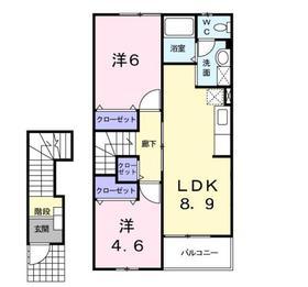 二宮駅 バス7分「押切」徒歩3分2階Fの間取り画像