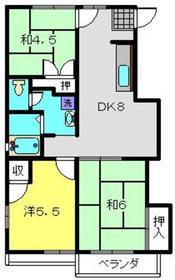 寺ノ上サニーコートⅢ2階Fの間取り画像