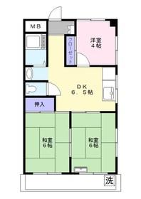 岡田コーポ2階Fの間取り画像