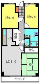 グリーンヒル弥生台5階Fの間取り画像
