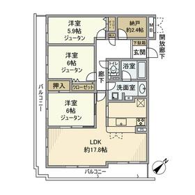 フェアロージュ旗の台3階Fの間取り画像
