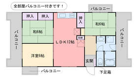 G−ONE姪浜駅南WEST6階Fの間取り画像