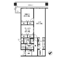 虎ノ門ヒルズ駅 徒歩2分14階Fの間取り画像