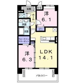 オーベルコート4階Fの間取り画像