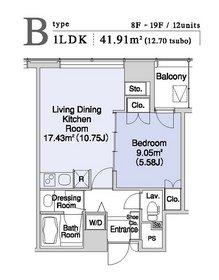 プラティーヌ新宿新都心15階Fの間取り画像