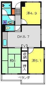 二俣川ハイツ4階Fの間取り画像