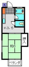 ハイムウカイ2階Fの間取り画像